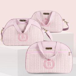 Conjunto de Mala, Frasqueira e Bolsa Maternidade Personalizado Tricot Rosa 03 Peças