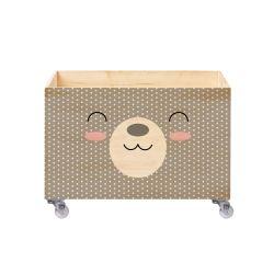 Caixa Organizadora para Brinquedos Ursa Bolinha Rosa