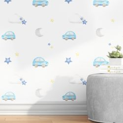 Papel de Parede Carrinhos, Céu, Nuvem e Estrela Azul