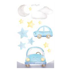 Adesivo de Parede Estrelinhas, Nuvem, Lua e Carrinhos Azul