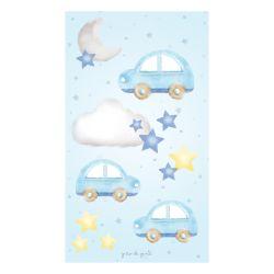 Adesivo de Parede 3 Carrinhos, Estrelinhas, Nuvem e Lua