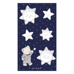 Adesivos de Parede Ursinho nas Estrelas Poá Azul Marinho
