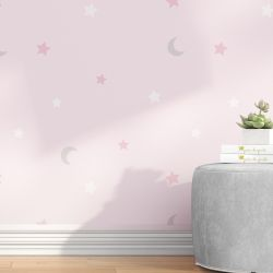 Papel de Parede Lua e Estrelas Rosa e Cinza 3M