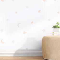 Papel de Parede Lua e Estrelas Salmão e Cinza 3M