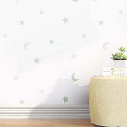 Papel de Parede Lua e Estrelas Verde e Cinza 3M