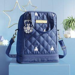 Frasqueira Maternidade Térmica Ursinho Teddy Azul Marinho 24cm
