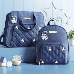 Conjunto de Mochila e Bolsa Maternidade Ursinho Teddy Azul Marinho