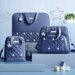 Conjunto de Mala, Bolsa e Frasqueira Maternidade Ursinho Teddy Azul Marinho