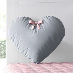 Almofada Coração Lacinho Cinza e Rosa 28cm