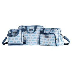Conjunto de Mala, Bolsa e Frasqueira Maternidade Carrinhos Azul Marinho