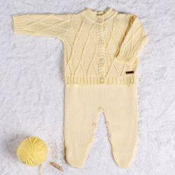Saída Maternidade Tricot Cardigan Amarelo Camomila 02 Peças