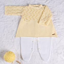 Saída Maternidade Tricot Vestido com Laços Amarelo Camomila 02 Peças