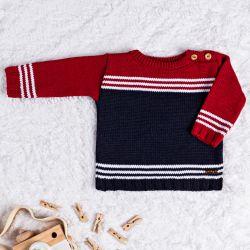 Suéter Tricot Listra Vermelho e Azul Marinho