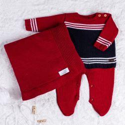 Saída Maternidade Tricot Listra Vermelho e Azul Marinho 03 Peças