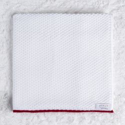 Manta Tricot Ponto Arroz Branco e Vermelho 80cm