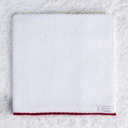 Manta Bebê Tricot Ponto Arroz Branco e Vermelho 80cm