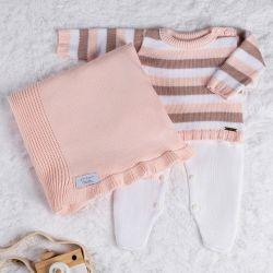 Saída Maternidade Tricot Suéter Listrado Rosa 03 Peças