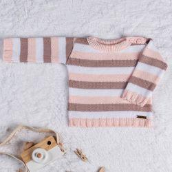Suéter Tricot Listrado Rosa