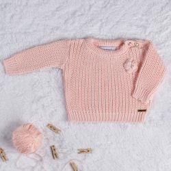 Suéter Tricot Menina Flor Rosa