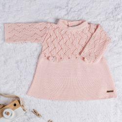 Vestido Tricot com Laços Rosa