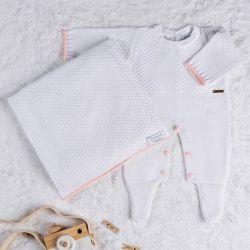 Saída Maternidade Tricot Ponto Arroz Branco e Rosa 02 Peças