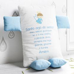 Almofada Naninha Santo Anjo Azul e Branco 32cm