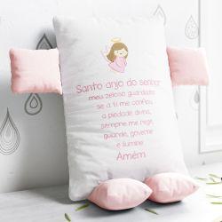 Almofada Naninha Santo Anjo Rosa e Branco 32cm