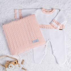 Saída Maternidade Tricot Macacão com Pérolas Branco e Rosa 02 Peças