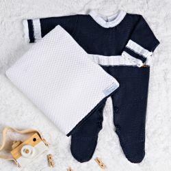 Saída Maternidade Tricot Macacão com Pérola Azul Marinho 02 Peças
