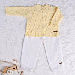 Saída Maternidade Tricot Calça e Cardigan Amarelo Camomila 02 Peças