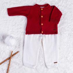 Saída Maternidade Tricot Casaquinho Vermelho e Branco 02 Peças