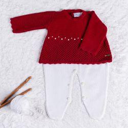 Saída Maternidade Tricot Vestido com Pérolas Vermelho 02 Peças