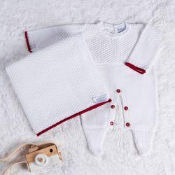 Saída Maternidade Tricot Ponto Arroz Branco e Vermelho 02 Peças