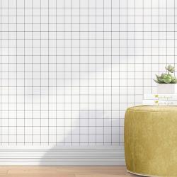 Papel de Parede Quadriculado Branco e Preto 3m