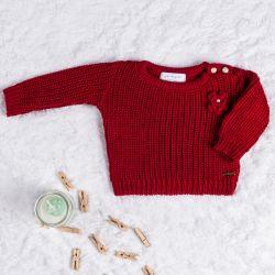Suéter Tricot Menina Flor Vermelho
