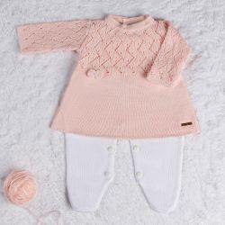 Saída Maternidade Tricot Vestido com Laços Rosa 02 Peças
