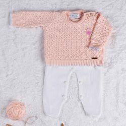Saída Maternidade Tricot Realeza Rosa 02 Peças