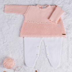 Saída Maternidade Tricot Vestido com Pérolas Rosa 02 Peças