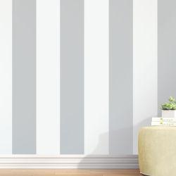 Papel de Parede Listrado Largo Cinza e Branco 3m