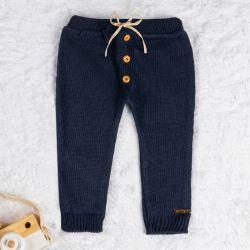 Calça Tricot com Botões Azul Marinho