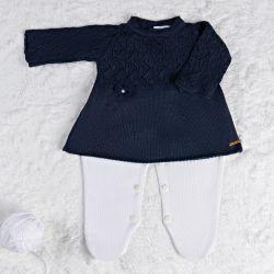 Saída Maternidade Tricot Vestido com Laços Azul Marinho 02 Peças