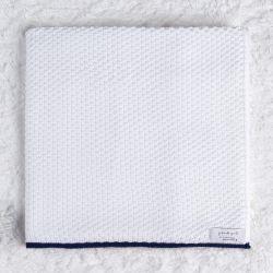 Manta Bebê Tricot Ponto Arroz Branco e Azul Marinho 80cm