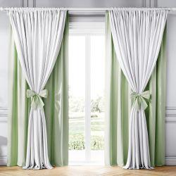 Cortina Clássica com Laços Branco e Verde