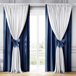 Cortina Clássica com Laços Branco e Azul Marinho