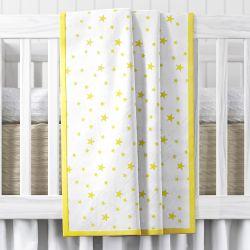 Manta de Berço Estrelas Amarelo 1,45m