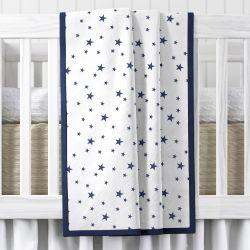 Manta de Berço Estrelas Azul Marinho 1,45m