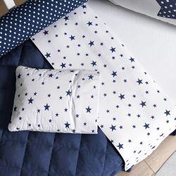 Jogo de Lençol Berço Estrelas Azul Marinho