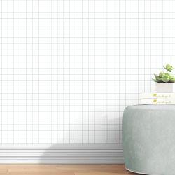 Papel de Parede Quadriculado Branco e Cinza Chumbo 3m
