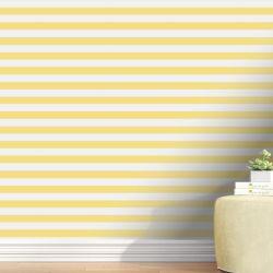 Papel de Parede Listrado Horizontal Amarelo 3m