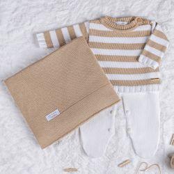 Saída Maternidade Tricot Sueter Neutro Chic Bege e Branco 03 Peças